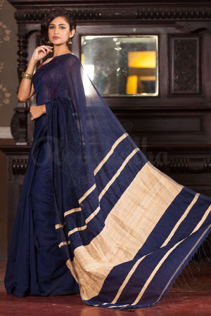Navy Blue Blended Cotton Handloom Saree Mocklin Weaving