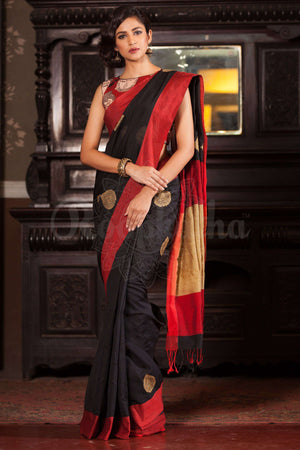 Black Blended Cotton Saree With Red Border Akasha Roopkatha - A Story of Art