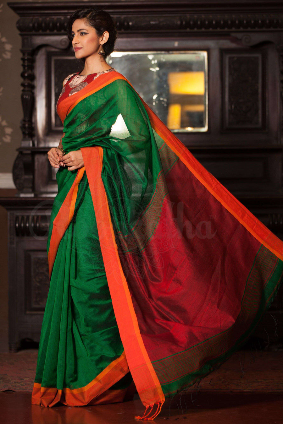Green Cotton Handloom Saree With Orange Border