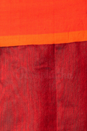 Green Cotton Handloom Saree With Orange Border Akasha Roopkatha - A Story of Art