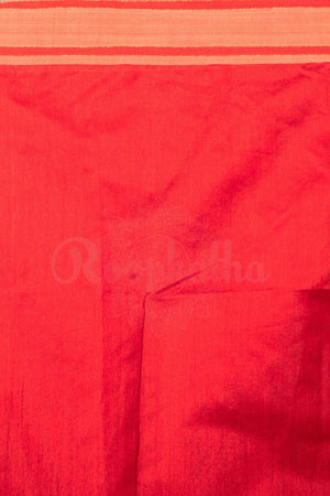 Red Cotton Handloom Saree With Ghicha Pallu