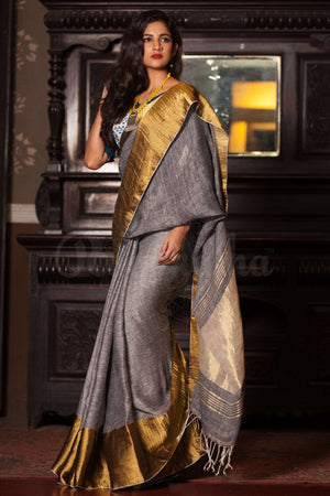 Grey Linen Saree With Wide Zari Border