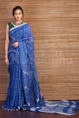 Blue Linen Saree With Silver Zari Earthen Collection Roopkatha - A Story of Art