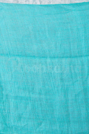 Sea Green Organic Linen Saree With Pompom & Silver Border