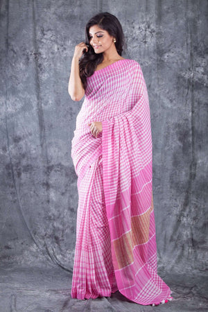 Light Pink & White Checkered Organic Cotton Handloom Saree