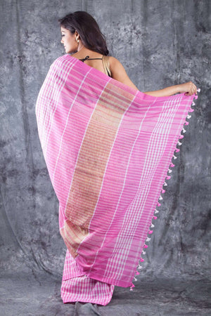 Light Pink & White Checkered Organic Cotton Handloom Saree Cotton Threads Of India Roopkatha - A Story of Art