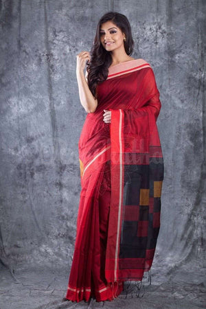 Red Blended Cotton Handloom Saree With Black Pallu Akasha Roopkatha - A Story of Art