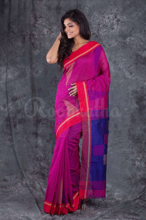 Fuchsia Pink Blended Cotton Handloom With Red Border Akasha Roopkatha - A Story of Art