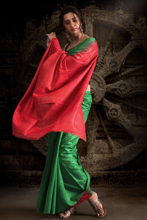 Green Gheecha Silk Saree With Red Pallu Kriti Classics Roopkatha - A Story of Art
