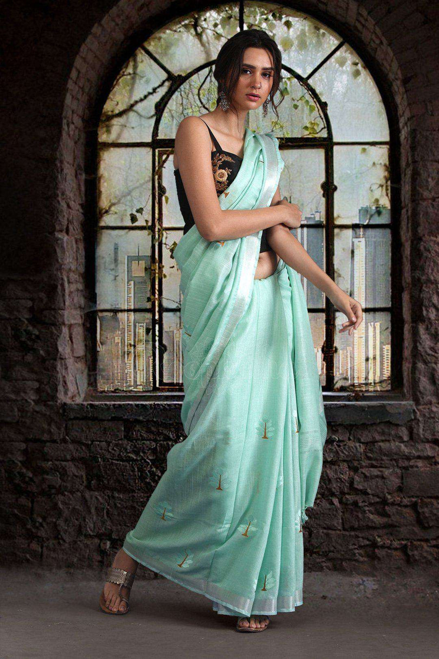 Light Blue Semi Linen Saree With Woven Motifs Earthen Collection Roopkatha - A Story of Art