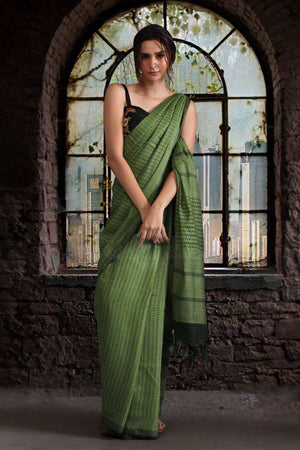 Green Blended Cotton Saree With Zari Border Akasha Roopkatha - A Story of Art