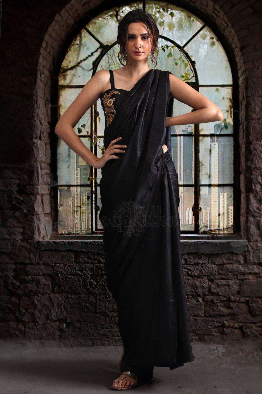 Black Gheecha Saree With Grey Pallu Akasha Roopkatha - A Story of Art