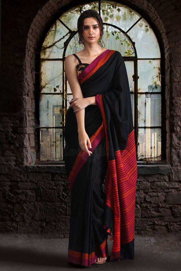 Black Pure Cotton Saree With Dual Borders Cotton Threads Of India Roopkatha - A Story of Art