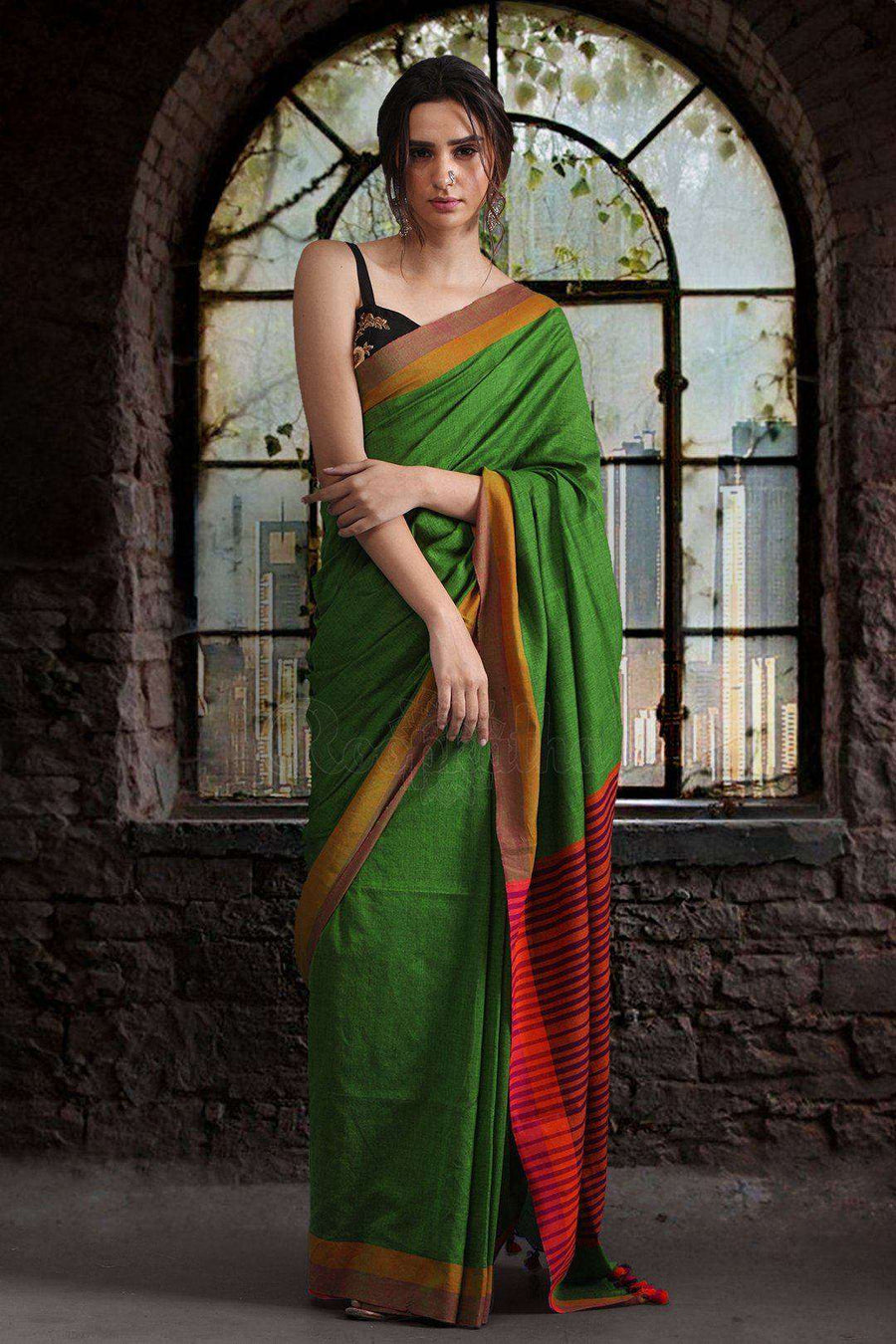 Light Green Pure Cotton Saree With Dual Borders Cotton Threads Of India Roopkatha - A Story of Art