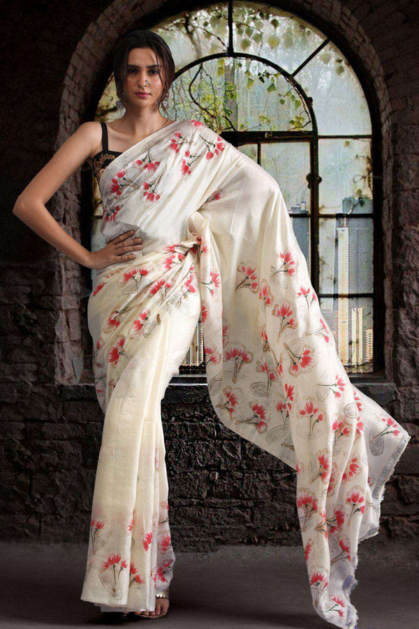 Off-White Pure Silk Saree With Handpainting Kriti Classics Roopkatha - A Story of Art