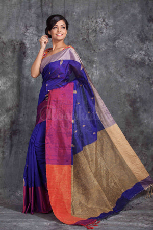 Indigo Blue Cotton Handloom Saree With Dual Tone Border