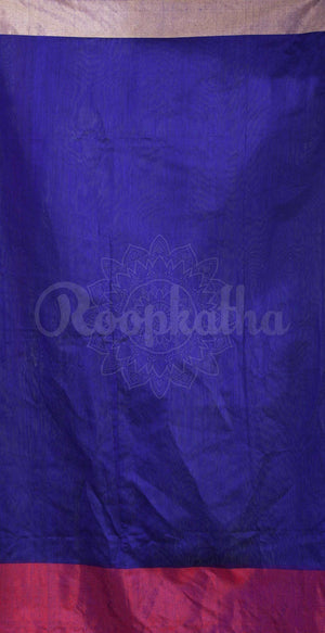 Indigo Blue Cotton Handloom Saree With Dual Tone Border Akasha Roopkatha - A Story of Art