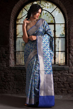 Blue Chanderi Cotton Saree With Zari Motifs VARANASI CHRONICLES Roopkatha - A Story of Art
