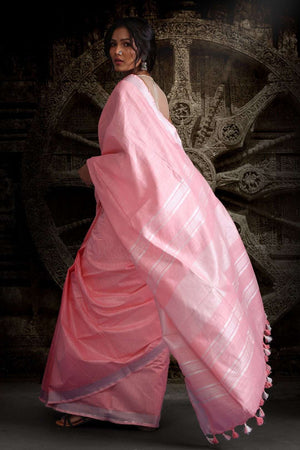 Baby Pink Blended Cotton Saree With Zari Border Akasha Roopkatha - A Story of Art
