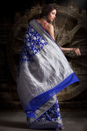 Royal Blue Chiffon Sarees With Floral Designs VARANASI CHRONICLES Roopkatha - A Story of Art