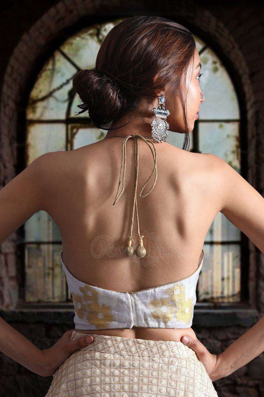 Halter Neck Chanderi BLouse Blouse Roopkatha - A Story of Art