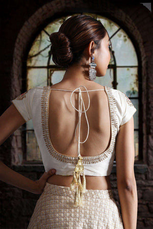 Off-White Dupion Zari Embroidered Blouse Blouse Roopkatha - A Story of Art