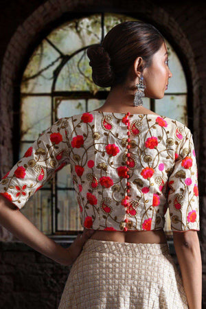Embroidered Dupion Blouse Blouse Roopkatha - A Story of Art