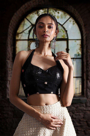 Halter Neck Black Embroidered And Sequins Blouse Blouse Roopkatha - A Story of Art