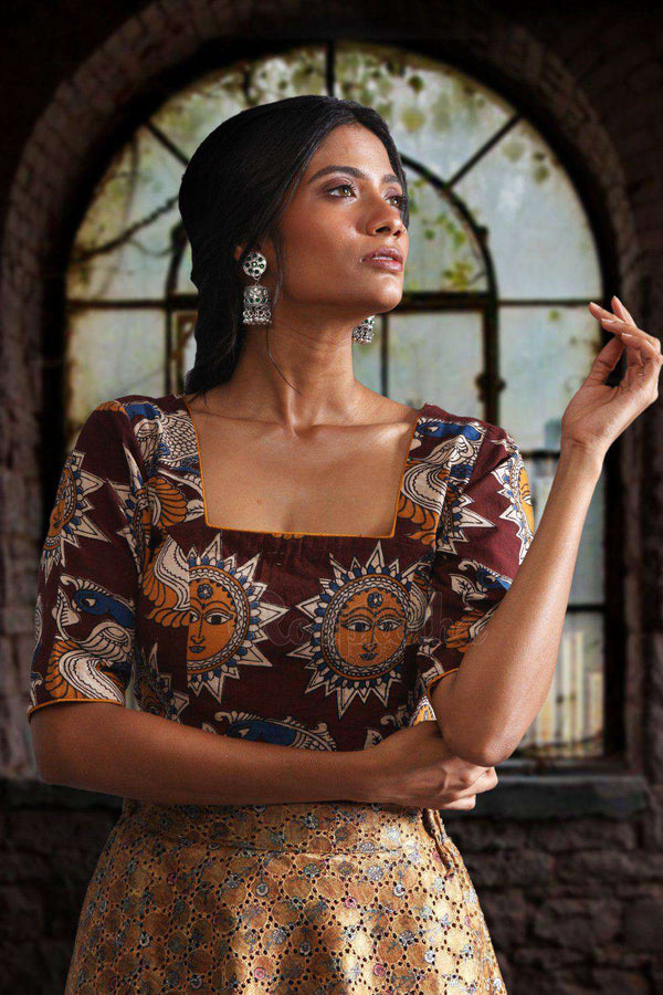 Glass Neck Kalamkari Blouse Blouse Roopkatha - A Story of Art