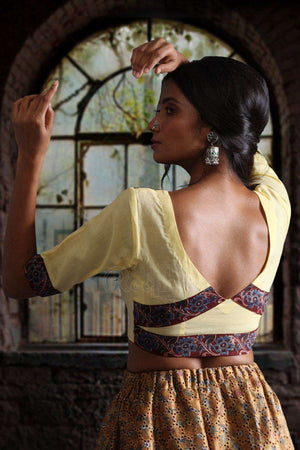 Yellow Blouse with Kalamkari Border Blouse Roopkatha - A Story of Art