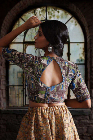 Kalamkari Blouse With Back Keyhole Blouse Roopkatha - A Story of Art