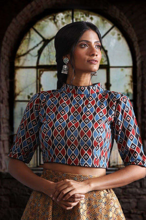 Ajrak Chinese Collar Blouse Blouse Roopkatha - A Story of Art