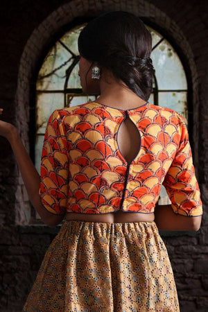 Closed Neck Ajrak Blouse with Keyhole Blouse Roopkatha - A Story of Art