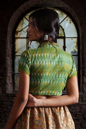 Front Zip Reversable Collar Ikkat Blouse Blouse Roopkatha - A Story of Art