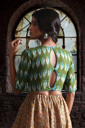 Boat Neck Ikkat Blouse With Double Keyhole At Back Blouse Roopkatha - A Story of Art