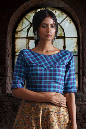 Boat Neck Blue Cotton Checks Blouse Blouse Roopkatha - A Story of Art