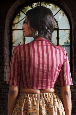 Raise Collar Striped Blouse Blouse Roopkatha - A Story of Art