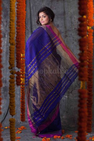 Indigo Blue Blended Cotton Saree With Panel Border