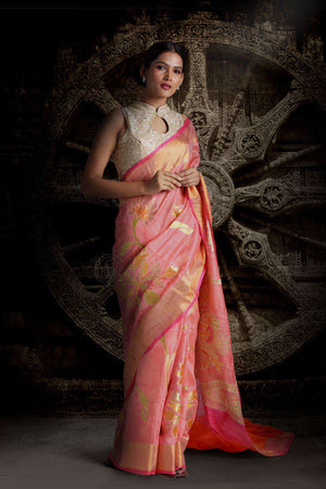 Pink Matka Silk Saree With Woven Zari & Floral Designs Kriti Classics Roopkatha - A Story of Art