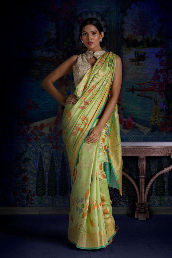 Lime Green Matka Silk Saree With Woven Zari & Floral Designs Kriti Classics Roopkatha - A Story of Art