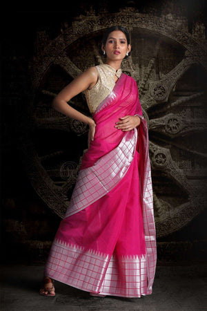 Fuchsia Blended Linen Saree With Zari Designs Earthen Collection Roopkatha - A Story of Art