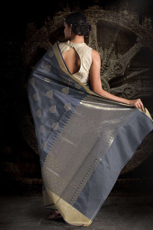 Grey Blended Silk Saree With Zari Motifs VARANASI CHRONICLES Roopkatha - A Story of Art