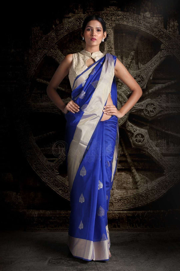 Royal Blue Blended Silk Saree With Zari Motifs