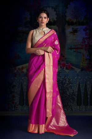 Fuchsia Blended Silk Saree With Zari Motifs VARANASI CHRONICLES Roopkatha - A Story of Art