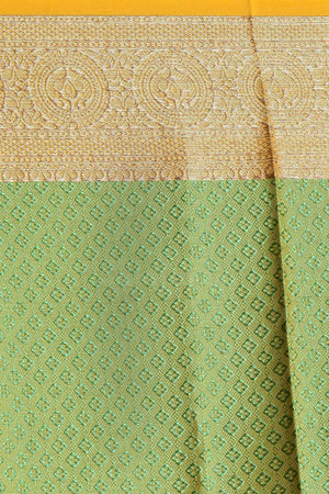 Yellow & Green Tanchui Kora Saree With Zari