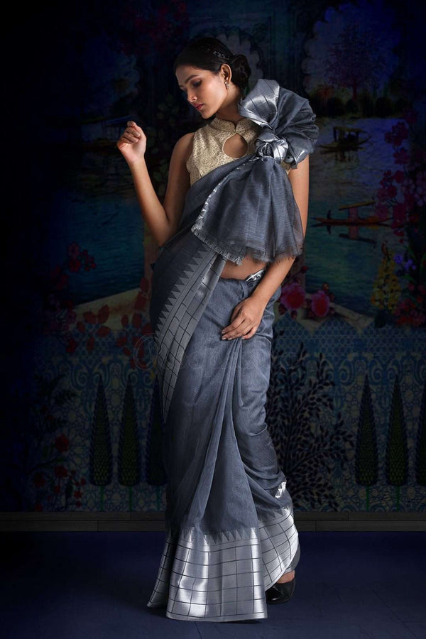 Grey Blended Linen Saree With Zari Designs Earthen Collection Roopkatha - A Story of Art