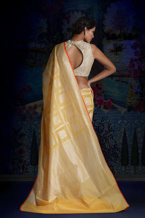 Yellow Blended Tissue Saree With Woven Designs VARANASI CHRONICLES Roopkatha - A Story of Art