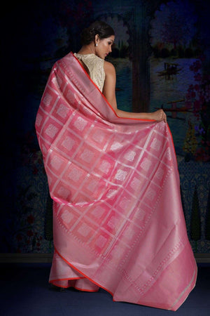 Pink Blended Tissue Saree With Woven Designs VARANASI CHRONICLES Roopkatha - A Story of Art
