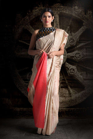Gheecha With Coral Tusser Pallu Saree Kriti Classics Roopkatha - A Story of Art