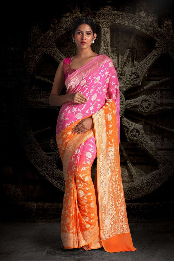 Pink & Orange Half & Half Pure Chiffon Saree With Floral Designs VARANASI CHRONICLES Roopkatha - A Story of Art